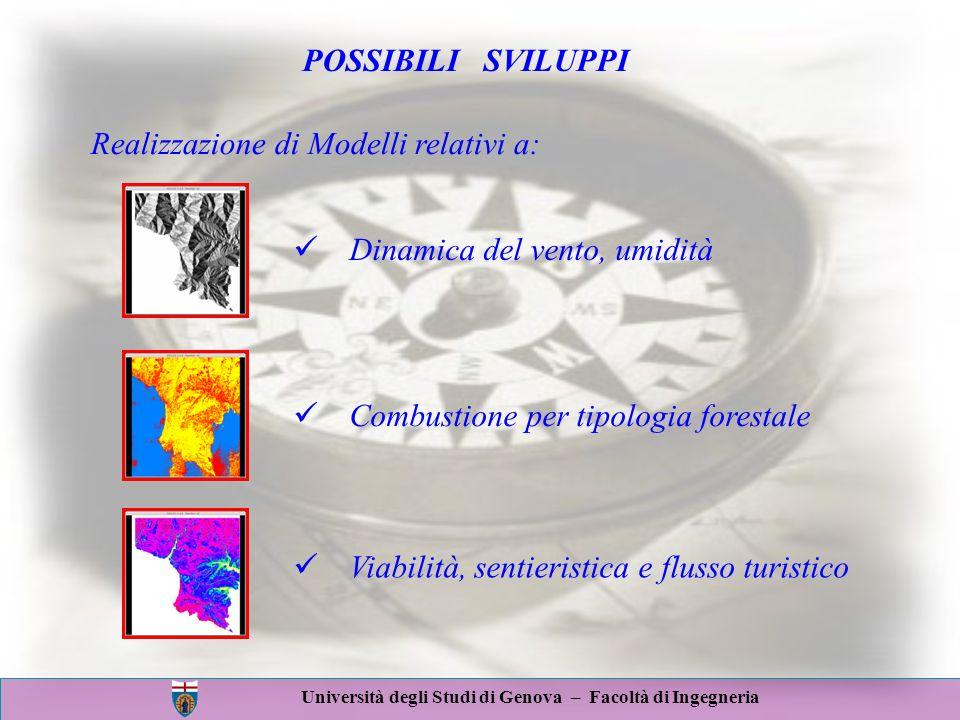 Università degli Studi di Genova – Facoltà di Ingegneria POSSIBILI SVILUPPI Realizzazione di Modelli relativi a: Viabilità, sentieristica e flusso tur