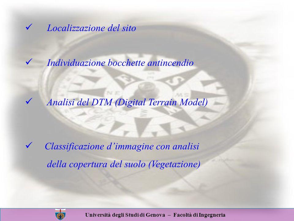 Università degli Studi di Genova – Facoltà di Ingegneria Localizzazione del sito Analisi del DTM (Digital Terrain Model) Classificazione dimmagine con