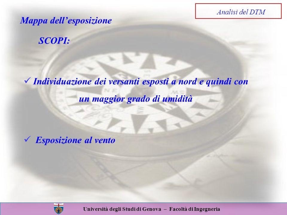 Università degli Studi di Genova – Facoltà di Ingegneria Mappa dellesposizione SCOPI: Individuazione dei versanti esposti a nord e quindi con un maggi