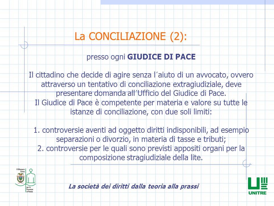 La società dei diritti dalla teoria alla prassi La CONCILIAZIONE (2): presso ogni GIUDICE DI PACE Il cittadino che decide di agire senza l´aiuto di un
