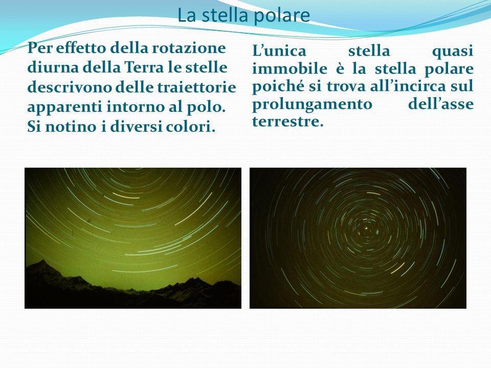La stella polare Per effetto della rotazione diurna della Terra le stelle descrivono delle traiettorie apparenti intorno al polo. Si notino i diversi
