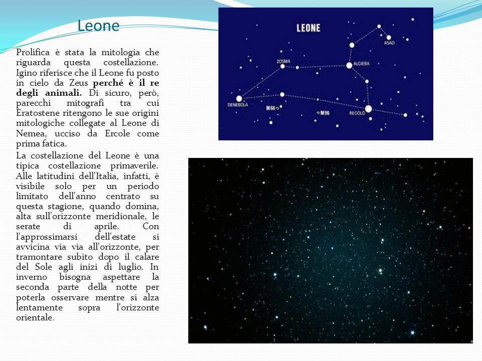 Leone Prolifica è stata la mitologia che riguarda questa costellazione. Igino riferisce che il Leone fu posto in cielo da Zeus perché è il re degli an