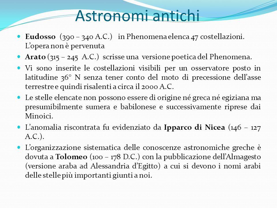 Astronomi antichi Eudosso (390 – 340 A.C.) in Phenomena elenca 47 costellazioni. Lopera non è pervenuta Arato (315 – 245 A.C.) scrisse una versione po