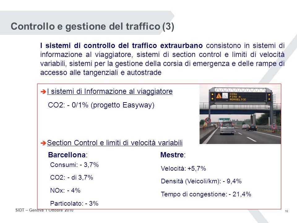 15 SIDT – Genova 1 Ottobre 2010 Controllo e gestione del traffico (2) I sistemi di indirizzamento parcheggi fornisce indicazioni circa la disponibilità di posti nei parcheggi in struttura o controllati e ne indica la direzione per raggiungerli In una città come Colonia (1 milione di ab.) il tempo medio di ricerca parcheggio è il 30% del tempo di viaggio (5/6 minuti).
