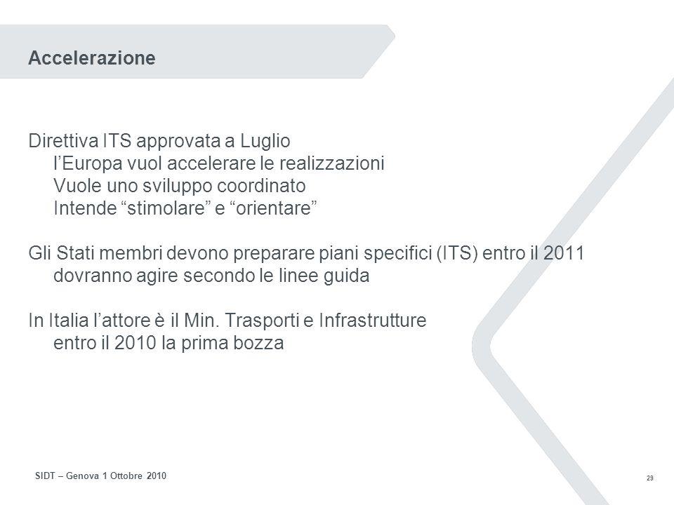 28 SIDT – Genova 1 Ottobre 2010 Questa presentazione ITS e i suoi successi Sicurezza Efficienza La situazione attuale Direttiva ITS e piani La ricerca (Cooperative Systems) Riflessioni Un decollo lento La formazione