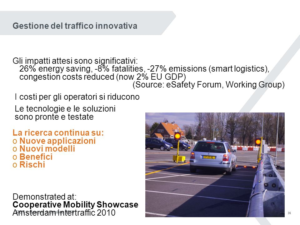35 SIDT – Genova 1 Ottobre 2010 UN PRIMO PASSO: BEACONING Aggiunta di sistemi di comunicazione allinfrastruttura esistente I veicoli trasmettono i loro dati Pannelli, semafori, etc.