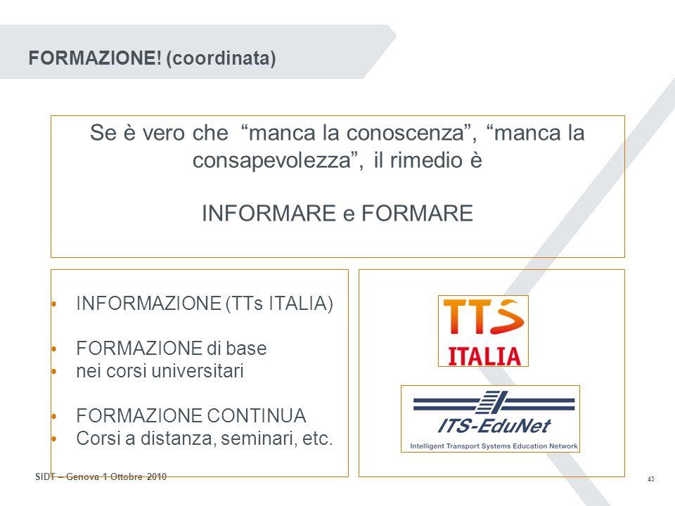 42 SIDT – Genova 1 Ottobre 2010 Dalla Commissione (DGTREN)