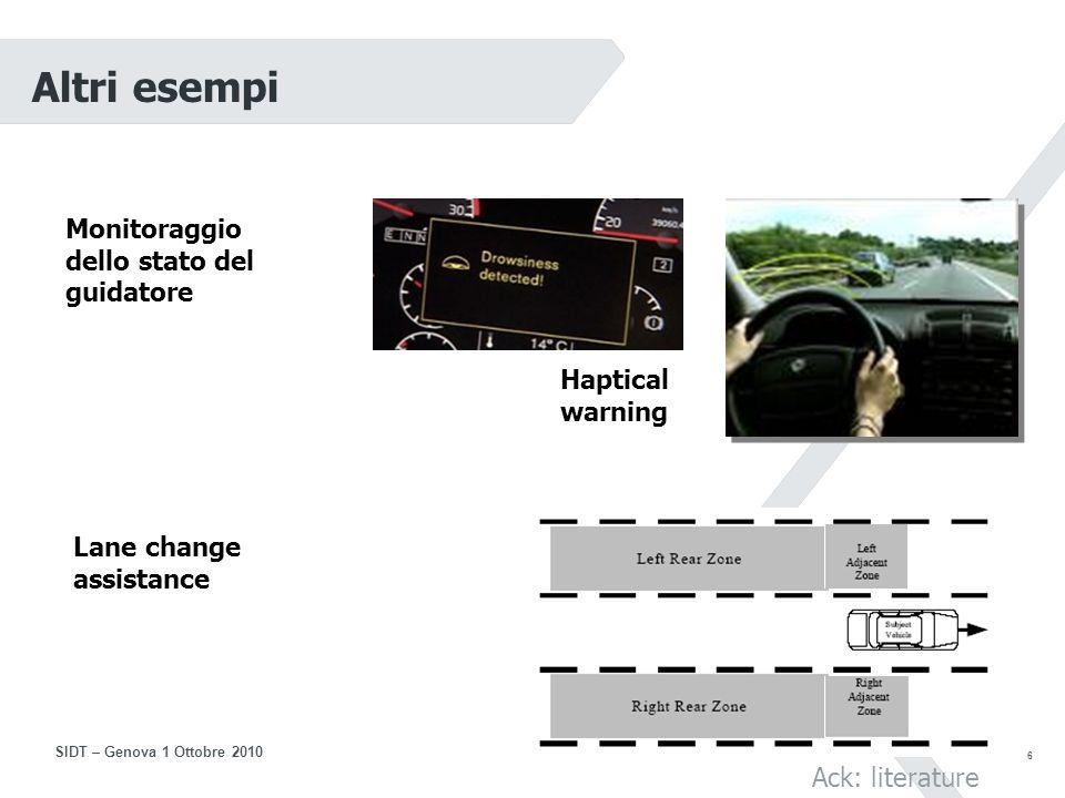 16 SIDT – Genova 1 Ottobre 2010 Controllo e gestione del traffico (3) I sistemi di controllo del traffico extraurbano consistono in sistemi di informazione al viaggiatore, sistemi di section control e limiti di velocità variabili, sistemi per la gestione della corsia di emergenza e delle rampe di accesso alle tangenziali e autostrade I sistemi di Informazione al viaggiatore CO2: - 0/1% (progetto Easyway) Section Control e limiti di velocità variabili Barcellona: Consumi: - 3,7% CO2: - di 3,7% NOx: - 4% Particolato: - 3% Mestre: Velocità: +5,7% Densità (Veicoli/km): - 9,4% Tempo di congestione: - 21,4%