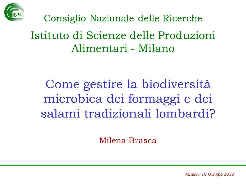 Milano, 16 Giugno 2010 Come gestire la biodiversità microbica dei formaggi e dei salami tradizionali lombardi? Milena Brasca Consiglio Nazionale delle
