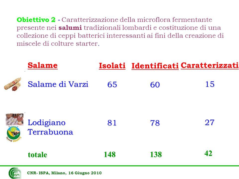 Obiettivo 2 -. Obiettivo 2 - Caratterizzazione della microflora fermentante presente nei salumi tradizionali lombardi e costituzione di una collezione