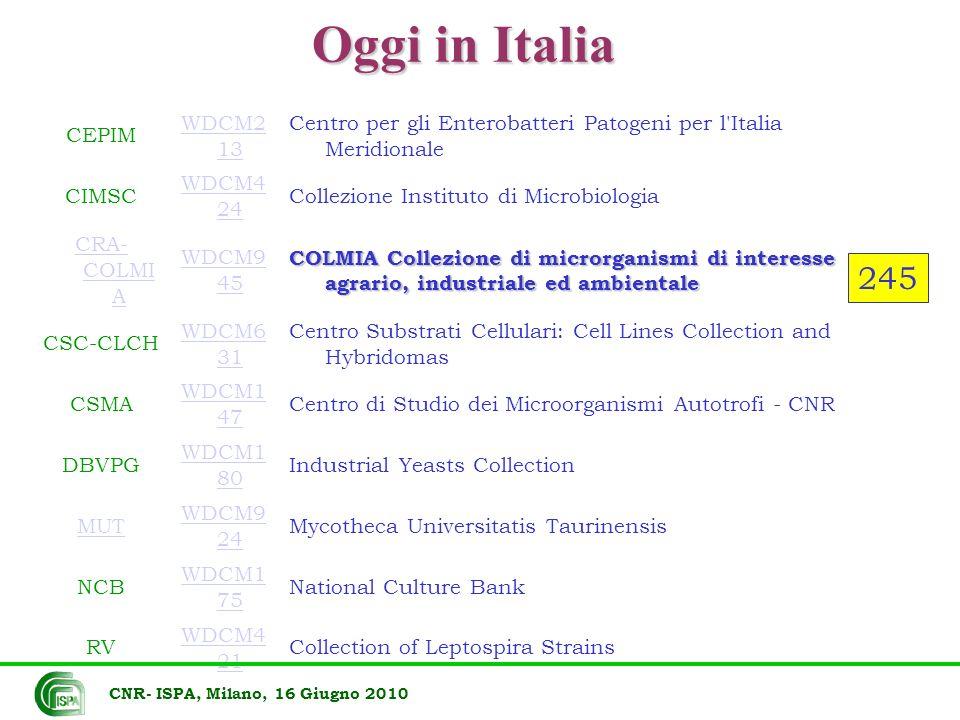 Oggi in Italia CEPIM WDCM2 13 Centro per gli Enterobatteri Patogeni per l'Italia Meridionale CIMSC WDCM4 24 Collezione Instituto di Microbiologia CRA-