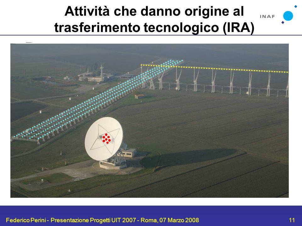 Federico Perini - Presentazione Progetti UIT 2007 - Roma, 07 Marzo 200811 Attività che danno origine al trasferimento tecnologico (IRA) uP