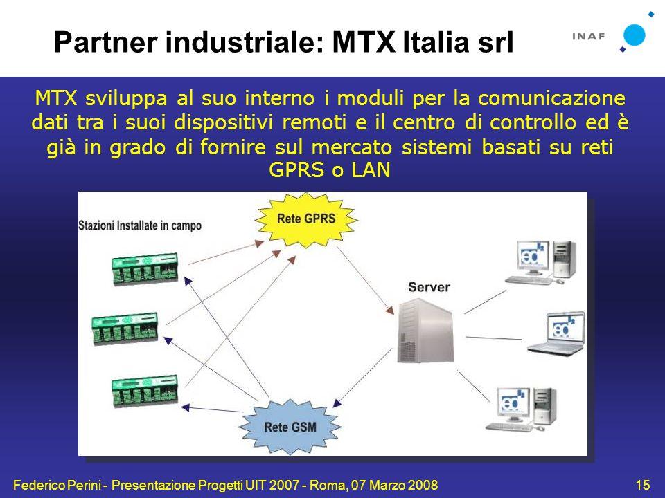 Federico Perini - Presentazione Progetti UIT 2007 - Roma, 07 Marzo 200815 MTX sviluppa al suo interno i moduli per la comunicazione dati tra i suoi di
