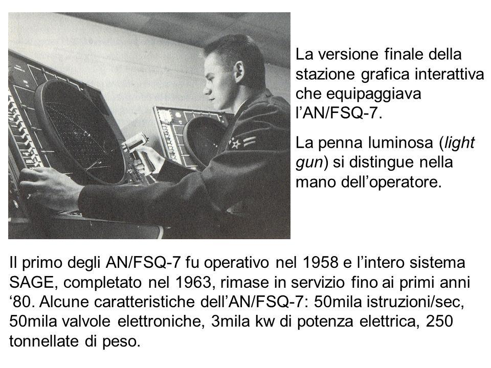Il primo degli AN/FSQ-7 fu operativo nel 1958 e lintero sistema SAGE, completato nel 1963, rimase in servizio fino ai primi anni 80. Alcune caratteris