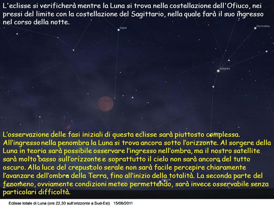 4 L'eclisse si verificherà mentre la Luna si trova nella costellazione dell'Ofiuco, nei pressi del limite con la costellazione del Sagittario, nella q