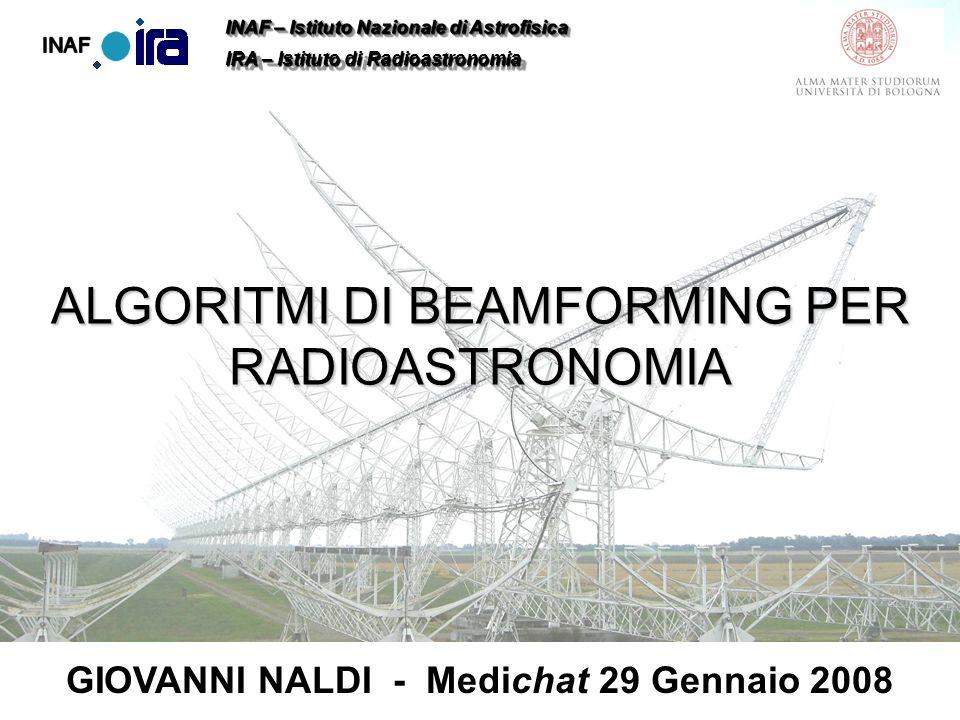 Giovanni NaldiAlgoritmi di Beamforming per Radio AstronomiaMedichat 29 Gennaio 2008 Risultati Sperimentali RFI di telemetria a 402MHz Pallone sonda meteo a 406MHz Spettro originale Spettro filtrato Spettro originale Spettro filtrato