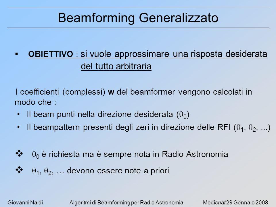 Giovanni NaldiAlgoritmi di Beamforming per Radio AstronomiaMedichat 29 Gennaio 2008 Beamforming Generalizzato OBIETTIVO : si vuole approssimare una risposta desiderata del tutto arbitraria I coefficienti (complessi) w del beamformer vengono calcolati in modo che : Il beam punti nella direzione desiderata ( 0 ) Il beampattern presenti degli zeri in direzione delle RFI ( 1, 2,...) 0 è richiesta ma è sempre nota in Radio-Astronomia 1, 2, … devono essere note a priori