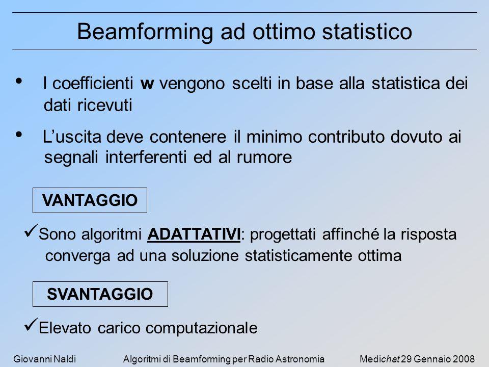 Giovanni NaldiAlgoritmi di Beamforming per Radio AstronomiaMedichat 29 Gennaio 2008 Beamforming ad ottimo statistico I coefficienti w vengono scelti i
