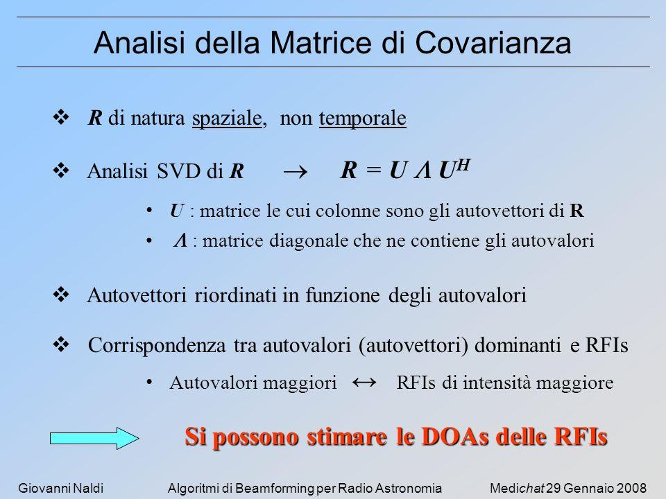 Giovanni NaldiAlgoritmi di Beamforming per Radio AstronomiaMedichat 29 Gennaio 2008 Analisi della Matrice di Covarianza Analisi SVD di R R = U U H U :