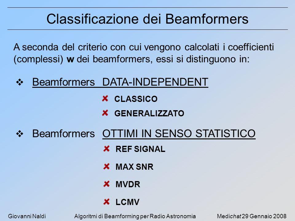 Giovanni NaldiAlgoritmi di Beamforming per Radio AstronomiaMedichat 29 Gennaio 2008 Classificazione dei Beamformers A seconda del criterio con cui vengono calcolati i coefficienti (complessi) w dei beamformers, essi si distinguono in: Beamformers DATA-INDEPENDENT Beamformers OTTIMI IN SENSO STATISTICO CLASSICO GENERALIZZATO REF SIGNAL MAX SNR MVDR LCMV