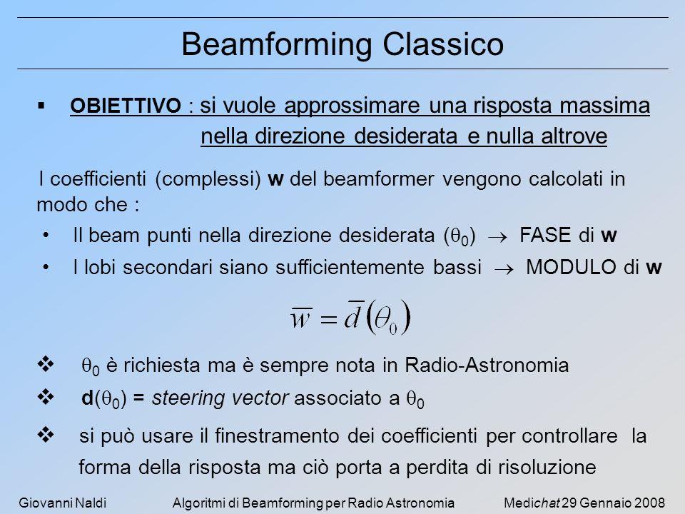 Giovanni NaldiAlgoritmi di Beamforming per Radio AstronomiaMedichat 29 Gennaio 2008 NUMERO DI SENSORI8 TIPO DI SENSOREIDEALE SPAZIATURA TRA I SENSORI λ/2 @ f 0 TEMPO DI SIMULAZIONE1000 sec DOA SEGNALE DESIDERATO +30° DOA INTERFERENZE-80° -60° [-50...