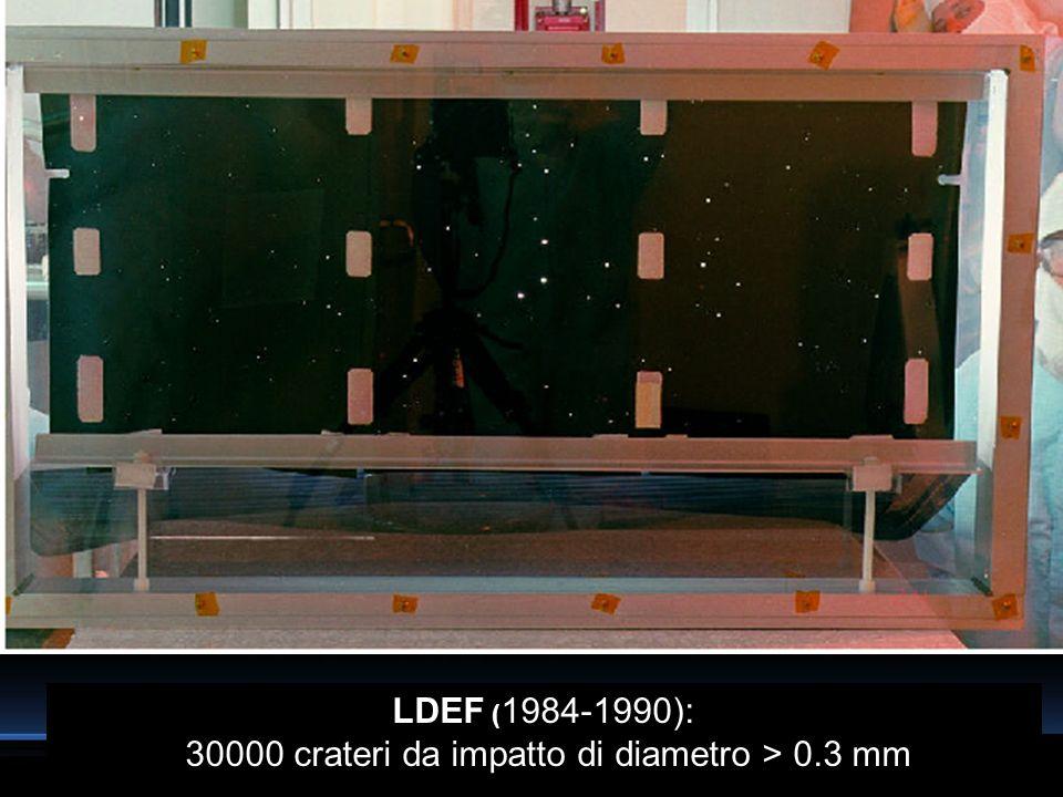 LDEF ( 1984-1990): 30000 crateri da impatto di diametro > 0.3 mm