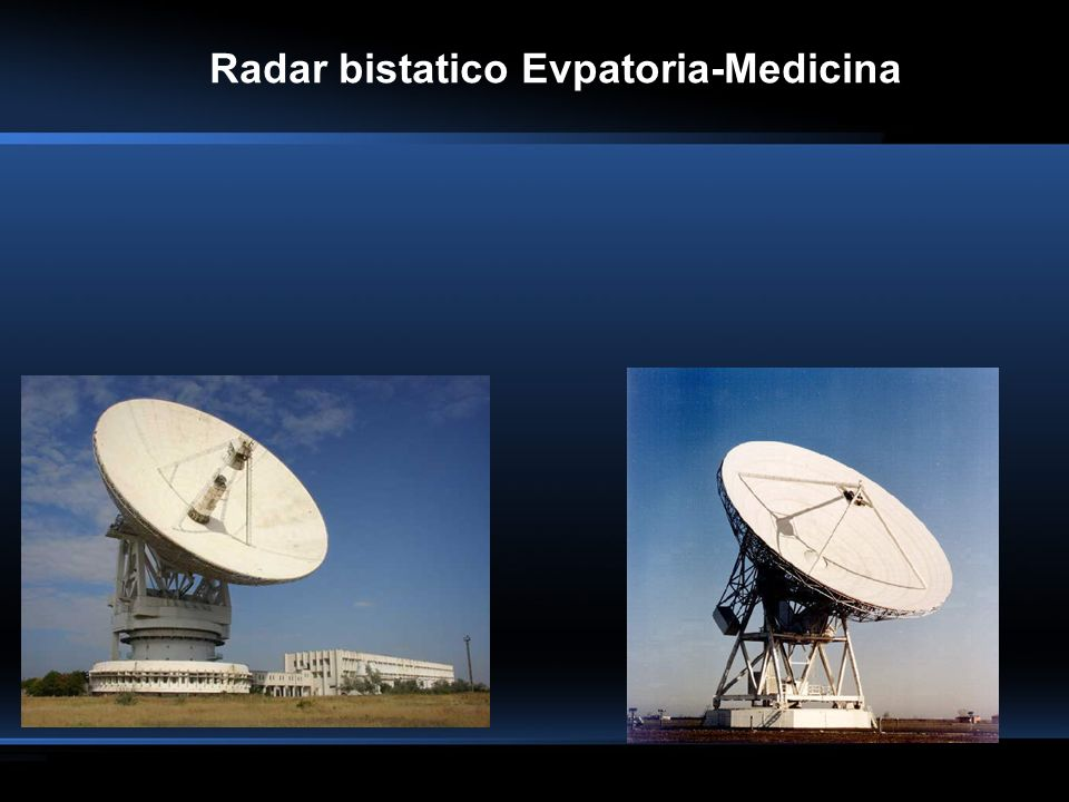 Esempio di Osservazione di satelliti geostazionari 19765 (Gorizont 17) Spettro delleco ottenuto da SPECTRA-1 (prima della saturazione) RCS: 2.1545 m² Tempo di transito nel beam: 12.92 s Slant range Tx: 37783.026 km Slant range Rx: 37351.353 km Ora del transito: 12:40:00 UT del 17/07/2007 Coordinate di puntamento Tx (Az., El.): 216° 58 41.7, 44° 59 04.3 Coordinate di puntamento Rx (Az., El.): 182° 02 23.7, 51° 32 32.0 Modalità osservativa: Beam parking