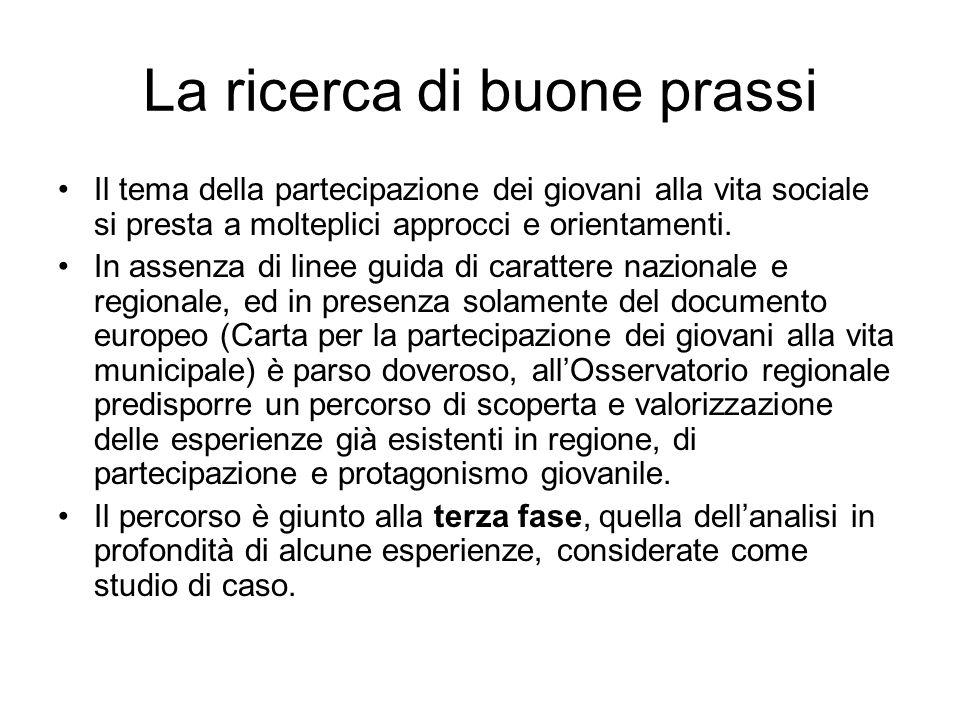 La ricerca di buone prassi Il tema della partecipazione dei giovani alla vita sociale si presta a molteplici approcci e orientamenti. In assenza di li