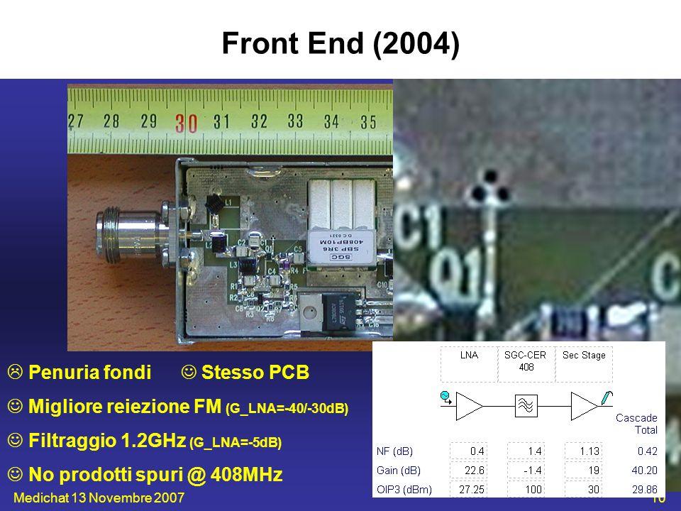 Medichat 13 Novembre 200710 Front End (2004) Penuria fondi Stesso PCB Migliore reiezione FM (G_LNA=-40/-30dB) Filtraggio 1.2GHz (G_LNA=-5dB) No prodot