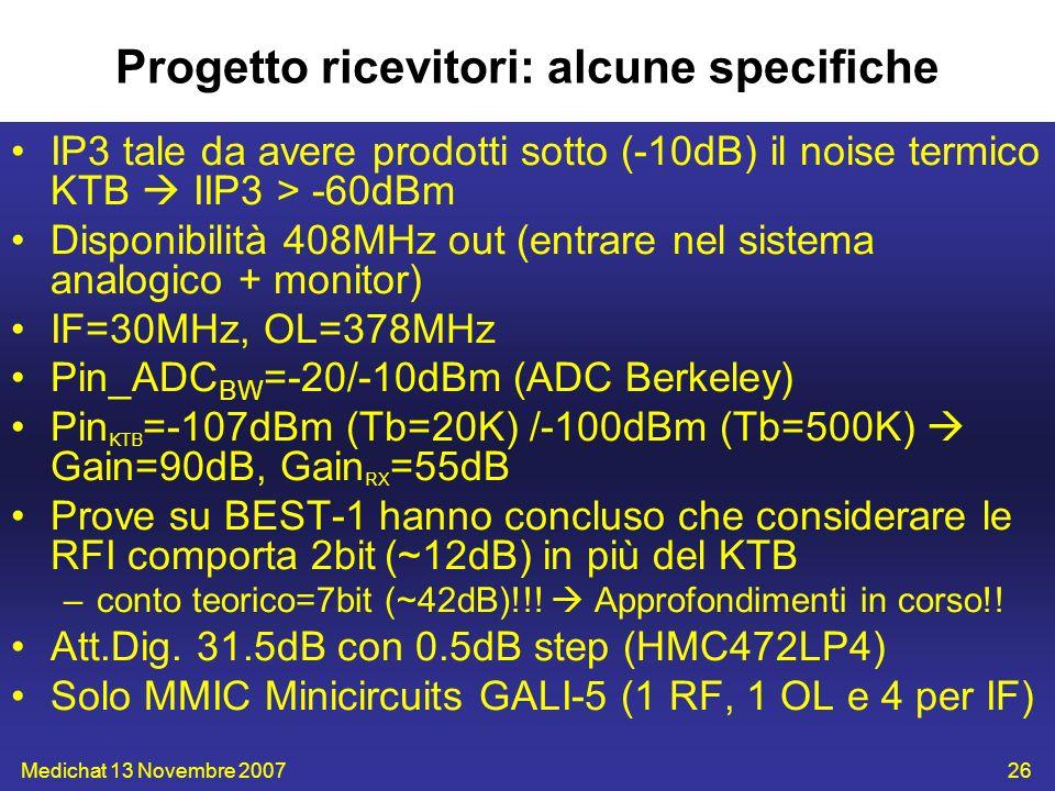 Medichat 13 Novembre 200726 Progetto ricevitori: alcune specifiche IP3 tale da avere prodotti sotto (-10dB) il noise termico KTB IIP3 > -60dBm Disponi