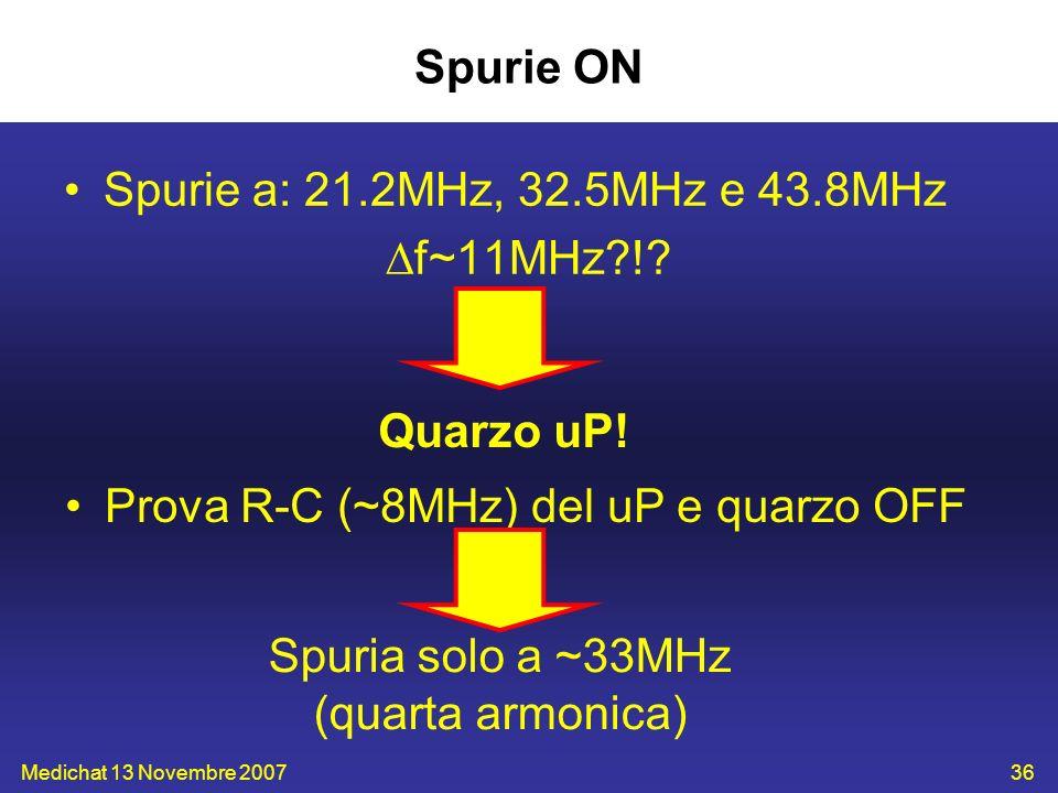 Medichat 13 Novembre 200736 Spurie ON Spurie a: 21.2MHz, 32.5MHz e 43.8MHz f~11MHz?!? Quarzo uP! Prova R-C (~8MHz) del uP e quarzo OFF Spuria solo a ~
