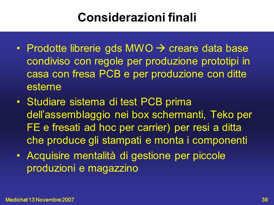 Medichat 13 Novembre 200738 Considerazioni finali Prodotte librerie gds MWO creare data base condiviso con regole per produzione prototipi in casa con