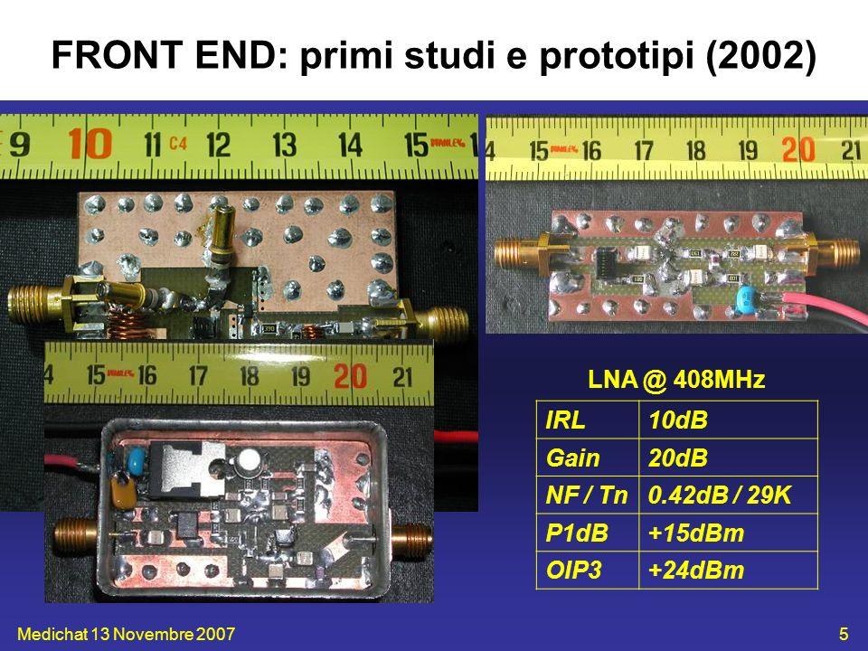Medichat 13 Novembre 200726 Progetto ricevitori: alcune specifiche IP3 tale da avere prodotti sotto (-10dB) il noise termico KTB IIP3 > -60dBm Disponibilità 408MHz out (entrare nel sistema analogico + monitor) IF=30MHz, OL=378MHz Pin_ADC BW =-20/-10dBm (ADC Berkeley) Pin KTB =-107dBm (Tb=20K) /-100dBm (Tb=500K) Gain=90dB, Gain RX =55dB Prove su BEST-1 hanno concluso che considerare le RFI comporta 2bit (~12dB) in più del KTB –conto teorico=7bit (~42dB)!!.