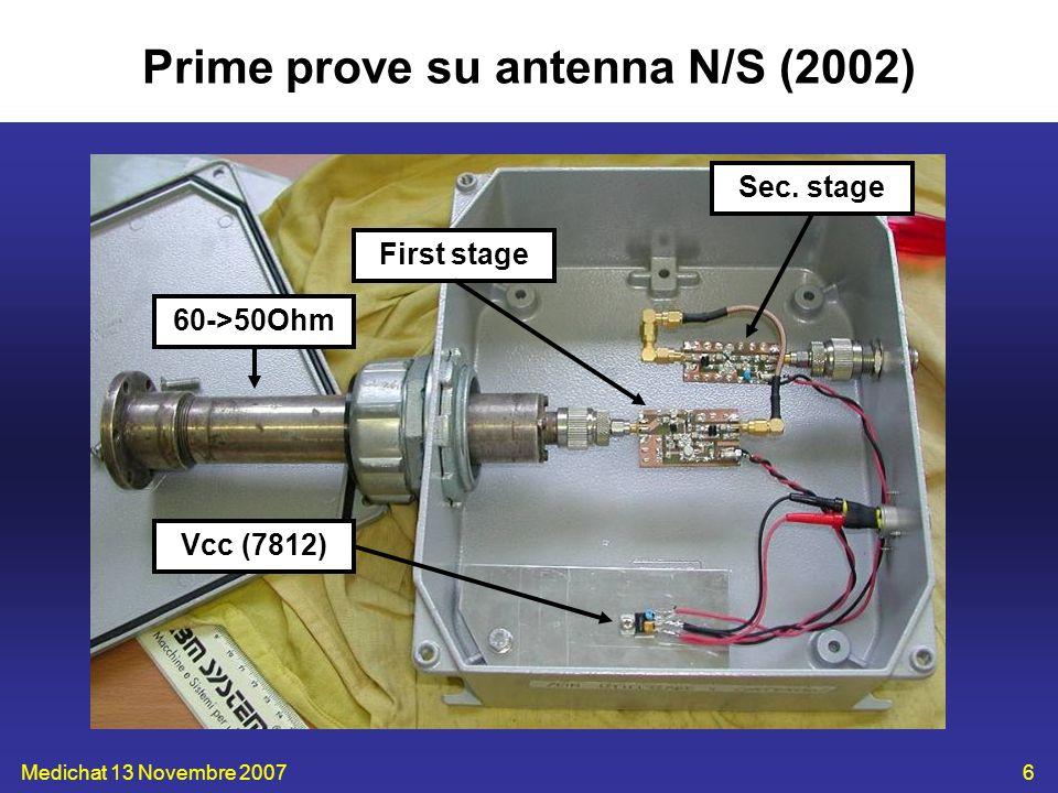 Medichat 13 Novembre 20077 Prime prove su antenna N/S (2002) Antenna non sezionata Buona reiezione FM (G_LNA=-25/-11dB) Assenza filtro interstadio Nessun filtraggio 1.2GHz (G_LNA=10.2dB) Assenza prodotti spuri @ 408MHz