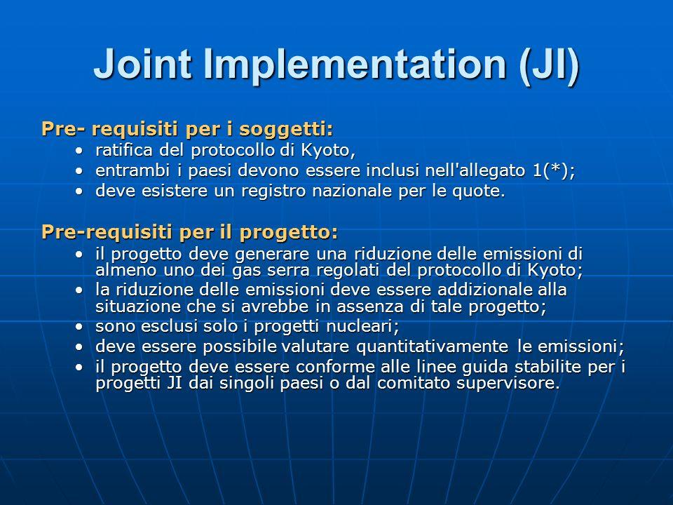Joint Implementation (JI) Pre- requisiti per i soggetti: ratifica del protocollo di Kyoto,ratifica del protocollo di Kyoto, entrambi i paesi devono es