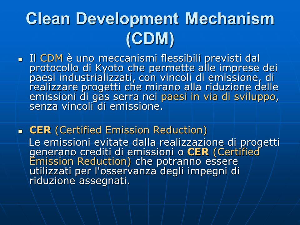 Il CDM è uno meccanismi flessibili previsti dal protocollo di Kyoto che permette alle imprese dei paesi industrializzati, con vincoli di emissione, di
