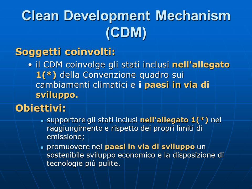 Clean Development Mechanism (CDM) Soggetti coinvolti: il CDM coinvolge gli stati inclusi nell'allegato 1(*) della Convenzione quadro sui cambiamenti c