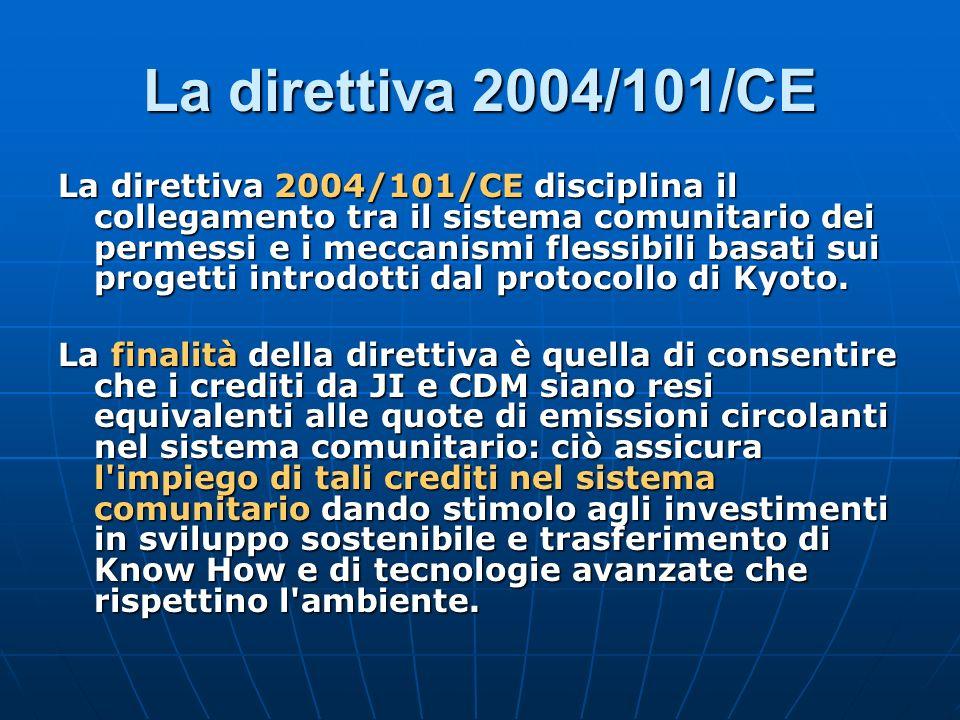 La direttiva 2004/101/CE disciplina il collegamento tra il sistema comunitario dei permessi e i meccanismi flessibili basati sui progetti introdotti d