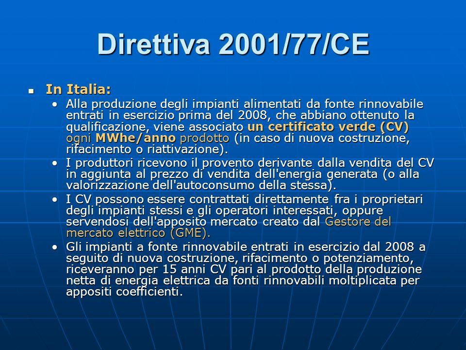 Direttiva 2001/77/CE In Italia: In Italia: Alla produzione degli impianti alimentati da fonte rinnovabile entrati in esercizio prima del 2008, che abbiano ottenuto la qualificazione, viene associato un certificato verde (CV) ogni MWhe/anno prodotto (in caso di nuova costruzione, rifacimento o riattivazione).Alla produzione degli impianti alimentati da fonte rinnovabile entrati in esercizio prima del 2008, che abbiano ottenuto la qualificazione, viene associato un certificato verde (CV) ogni MWhe/anno prodotto (in caso di nuova costruzione, rifacimento o riattivazione).