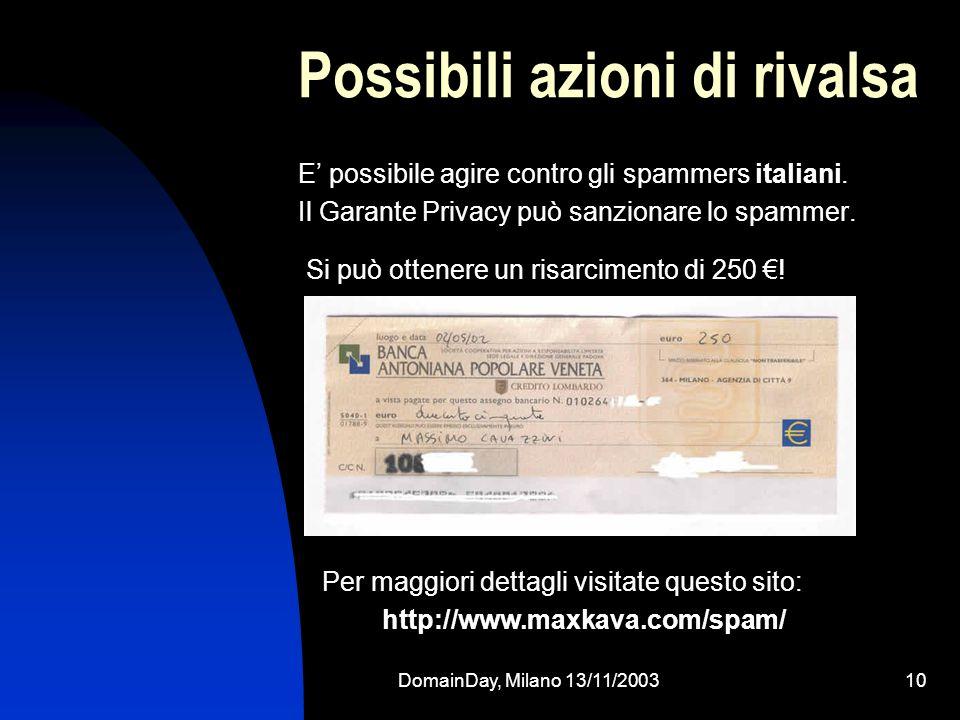 DomainDay, Milano 13/11/200310 Possibili azioni di rivalsa E possibile agire contro gli spammers italiani. Il Garante Privacy può sanzionare lo spamme