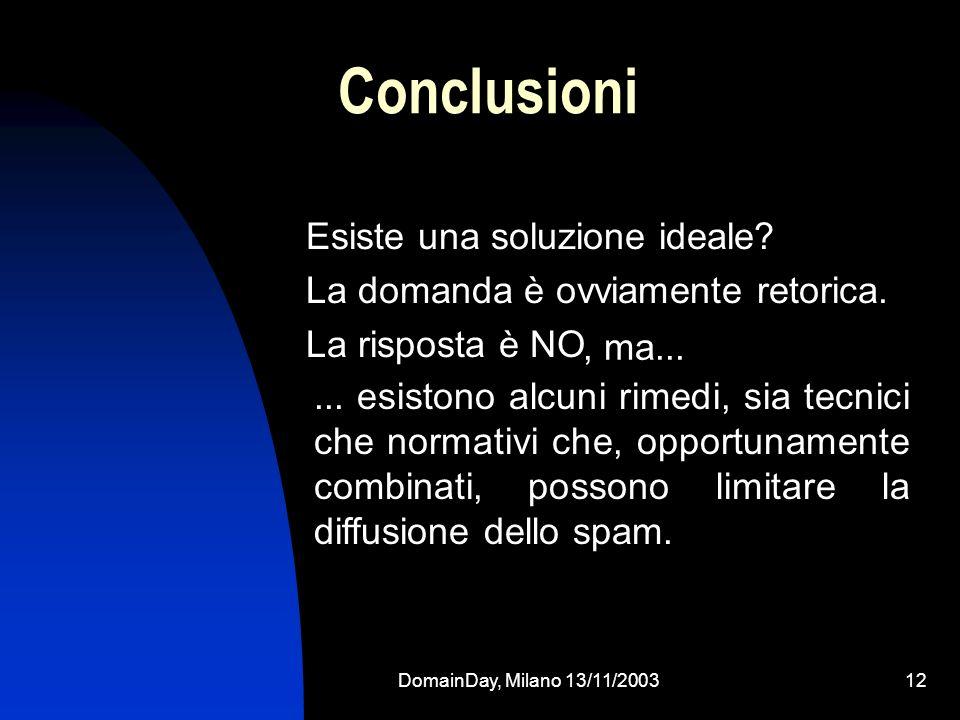DomainDay, Milano 13/11/200312 Conclusioni Esiste una soluzione ideale? La domanda è ovviamente retorica. La risposta è NO... esistono alcuni rimedi,