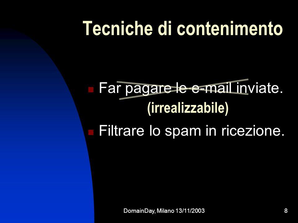 DomainDay, Milano 13/11/20038 Tecniche di contenimento Far pagare le e-mail inviate. Filtrare lo spam in ricezione. (irrealizzabile)
