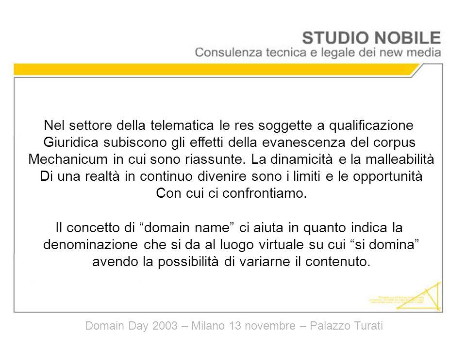 Domain Day 2003 – Milano 13 novembre – Palazzo Turati Nel settore della telematica le res soggette a qualificazione Giuridica subiscono gli effetti della evanescenza del corpus Mechanicum in cui sono riassunte.