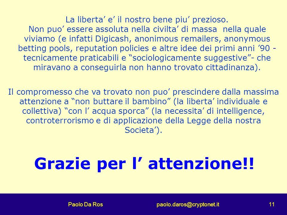 Paolo Da Ros paolo.daros@cryptonet.it 11 Grazie per l attenzione!! La liberta e il nostro bene piu prezioso. Non puo essere assoluta nella civilta di