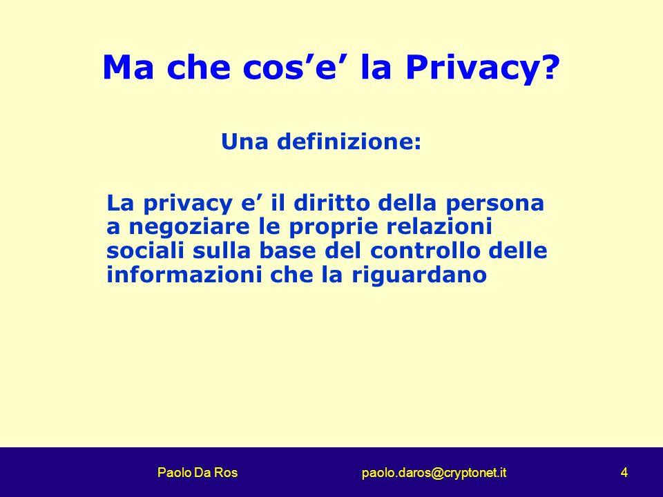 Paolo Da Ros paolo.daros@cryptonet.it 4 Ma che cose la Privacy? La privacy e il diritto della persona a negoziare le proprie relazioni sociali sulla b
