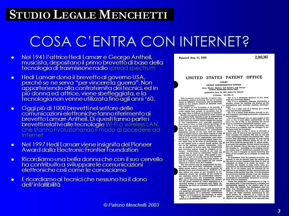 3 © Patrizio Menchetti 2003 COSA CENTRA CON INTERNET? Nel 1941 lattrice Hedi Lamarr e George Antheil, musicista, depositano il primo brevetto di base