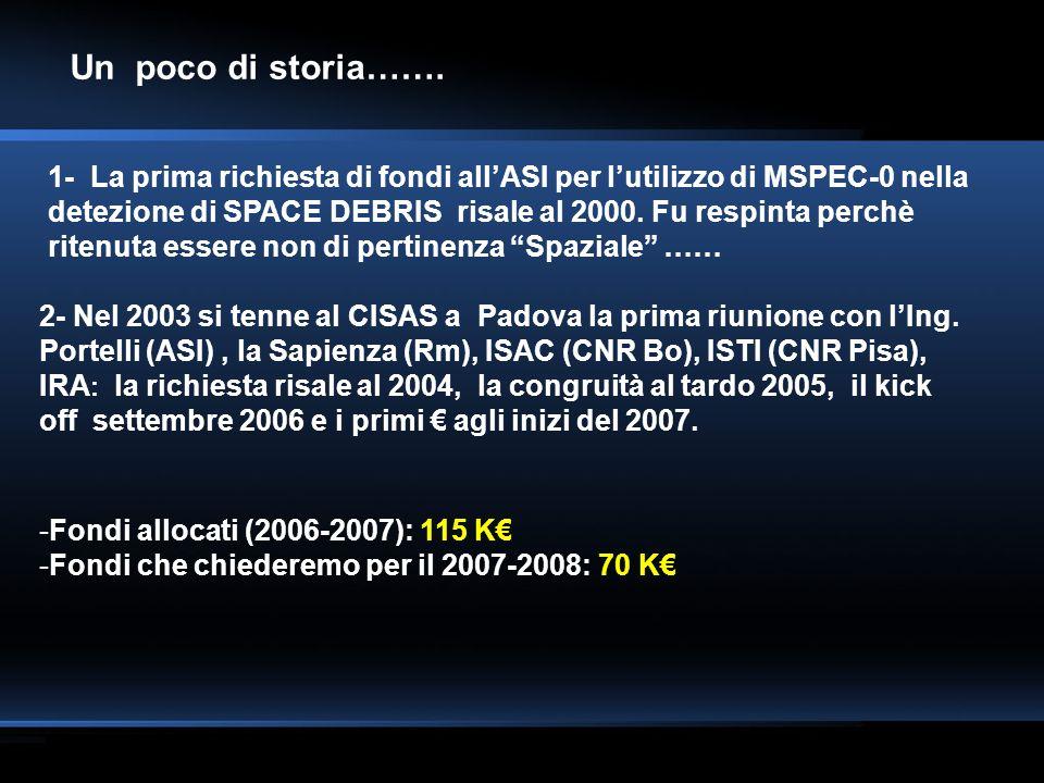 Un poco di storia……. 1- La prima richiesta di fondi allASI per lutilizzo di MSPEC-0 nella detezione di SPACE DEBRIS risale al 2000. Fu respinta perchè