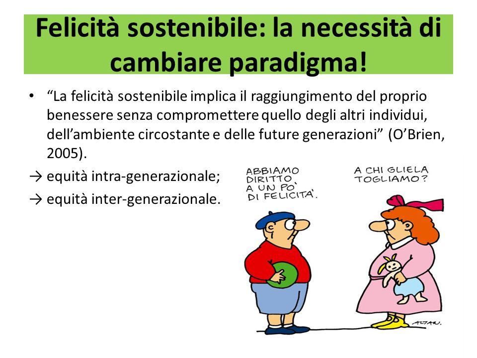 Felicità sostenibile: la necessità di cambiare paradigma! La felicità sostenibile implica il raggiungimento del proprio benessere senza compromettere