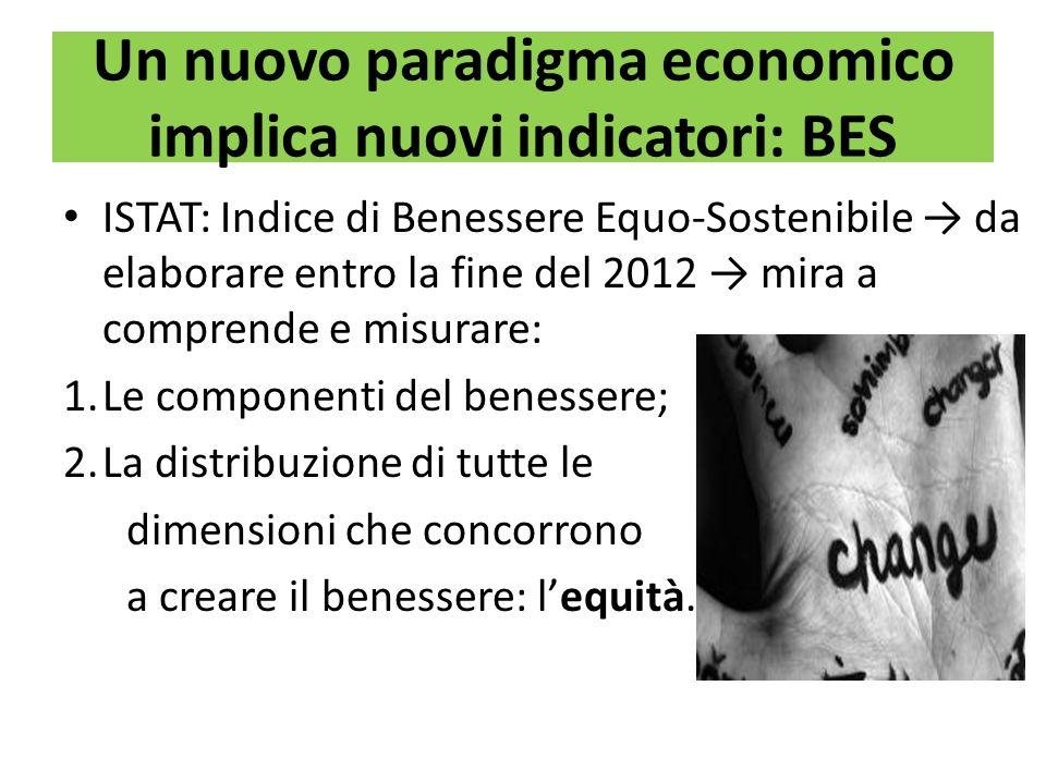 Un nuovo paradigma economico implica nuovi indicatori: BES ISTAT: Indice di Benessere Equo-Sostenibile da elaborare entro la fine del 2012 mira a comp