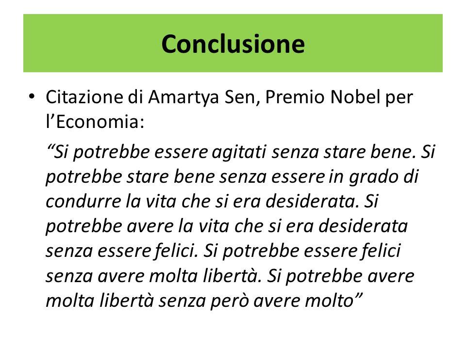 Conclusione Citazione di Amartya Sen, Premio Nobel per lEconomia: Si potrebbe essere agitati senza stare bene. Si potrebbe stare bene senza essere in